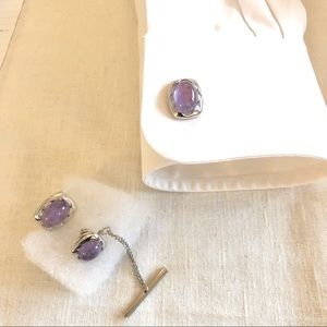 Vintage SWANK Cufflinks & Cravat Holder - Amethyst